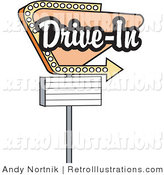 Retro Illustration of a Vintage Tan Drive in Sign with an Arrow Underneath by Andy Nortnik
