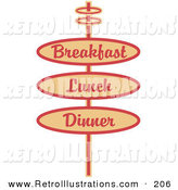 Retro Illustration of a Vintage Tan Restaurant Sign Advertising Breakfast, Lunch and Dinner on White by Andy Nortnik