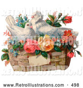 Retro Illustration of a Vintage Valentine Painting of Two White Doves Nesting in a Basket of Forget Me Nots and Roses, Circa 1890 by OldPixels
