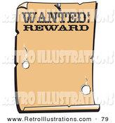 Retro Illustration of a Vintage Wanted Sign Western Background on a White Background by Andy Nortnik