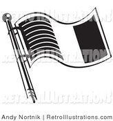 June 3rd, 2012: Retro Illustration of a Waving Flag of Ireland in Black and White by Andy Nortnik