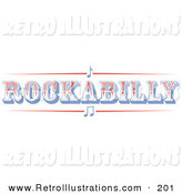 Retro Illustration of a Western Rockabilly Music Sign on White by Andy Nortnik