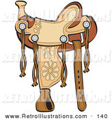 Retro Illustration of a Western Style Leather Saddle with Floral Accents by Andy Nortnik