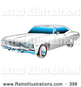 Retro Illustration of a White and Chrome 1967 Chevrolet Ss Impala American Muscle Car by Andy Nortnik