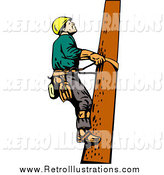 Retro Illustration of a White Lineman on a Pole by Patrimonio