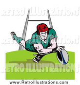 Retro Illustration of a White Male Rugby Football Player Leaping by Patrimonio