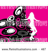 Retro Illustration of a White Silhouetted Person Dancing on a Wave of Retro Pink, Black and White Circles over a Pink Background by KJ Pargeter
