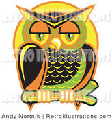 Retro Illustration of a Wise, Colorful Owl Perched on a Branch at Nighttime Against a Full Moon by Andy Nortnik