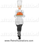 Retro Illustration of a Woman Carrying a Roasted Chicken or Turkey Bird on a Platter by BNP Design Studio