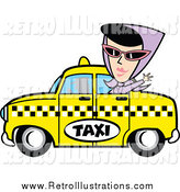 Retro Illustration of a Woman Waving from a Taxi Cab by Andy Nortnik