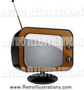 Retro Illustration of a Wood Veneer Television Set by Elaineitalia