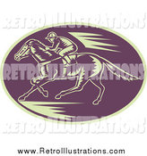 Retro Illustration of a Woodcut Purple and Beige Horse Racing Scene by Patrimonio
