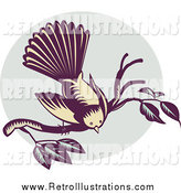 Retro Illustration of a Woodcut Retro New Zealand Fantail Bird on a Branch by Patrimonio