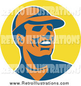 Retro Illustration of a Worker Man over a Yellow Circle by Patrimonio