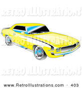 Retro Illustration of a Yellow 1969 Chevrolet RS/SS Camaro Muscle Car with Black Stripes on the Sides and Silver Detailing by Andy Nortnik