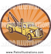 Retro Illustration of a Yellow and Orange Tow Truck in an Oval of Orange Sunshine by Patrimonio