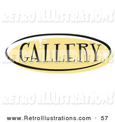 Retro Illustration of a Yellow Oval Gallery Website Button That Could Link to a Visuals Page on a Site by Andy Nortnik