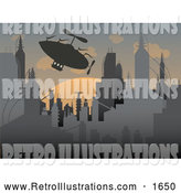 Retro Illustration of an Airship over a Futuristic City at Sunset by Mheld