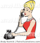 Retro Illustration of an Attractive Blond Woman with Tall Hair, Wearing Pearls and a Red Dress and Talking on a Rotary Dial Landline Telephone by Andy Nortnik