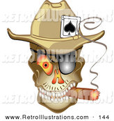 Retro Illustration of an Evil Skeleton Cowboy Skull with an Ace of Spades in His Hat, Smoking a Cigar by Andy Nortnik