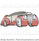 Retro Illustration of an Old Fashioned Red and Grey Luxury Sedan Car, from the Front Side by Andy Nortnik