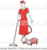 Retro Illustration of an Old Fashioned Red Haired Housewife or Maid Woman in a Long Red Dress and Heels, Using a Canister Vacuum to Clean the Floors by Andy Nortnik