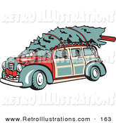 Retro Illustration of an Old Fashioned Red Woodie Car Carrying a Christmas Tree on the Roof, Decorated in Christmas Lights and a Wreath by Andy Nortnik