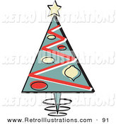 Retro Illustration of an Old Fashioned Triangular Christmas Tree with Ornaments and a Star on Top by Andy Nortnik