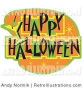 July 13th, 2012: Retro Illustration of an Orange and Green Happy Halloween Bar Sign by Andy Nortnik