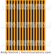 Retro Illustration of an Orange Background with Columns of Vertical Black Stripes by Andy Nortnik