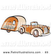 Retro Illustration of an Orange Convertible Car Pulling a Trailer Behind It by Andy Nortnik