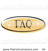 Retro Illustration of an Orange Oval FAQ Website Button That Could Link to a Frequently Asked Questions Information Page on a Site by Andy Nortnik