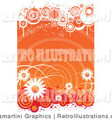 Retro Illustration of an Orange Spiral and Daisy Background by Vector Tradition SM