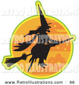 Retro Illustration of an Ugly Hag Witch in the Traditional Black Dress and Pointy Hat, Riding on a Broomstick and Silhouetted Against an Orange Starry Night Sky by Andy Nortnik