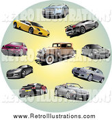 Retro Illustration of Coupes, Classic and Sports Cars in a Circle by
