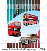 December 3rd, 2013: Retro Illustration of Double Decker Buses, Vintage Car and Big Ben Tower on a Striped Background by Leonid