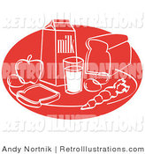Retro Illustration of Every Day Still Life of Food Including Eggs, Apple, Carton of Milk, Glass of Milk, Sliced Bread, and a Carrot by Andy Nortnik