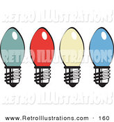 Retro Illustration of Four Colorful Christmas Lightbulbs on White by Andy Nortnik