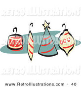 Retro Illustration of Four Colorful Christmas Tree Ornaments with Hooks Retro by Andy Nortnik