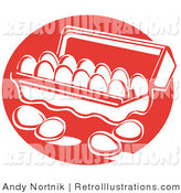 May 25th, 2012: Retro Illustration of Four White Eggs Resting on a Counter near an Open Egg Carton by Andy Nortnik