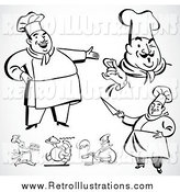 Retro Illustration of Happy Black and White Retro Chefs on Gray by BestVector