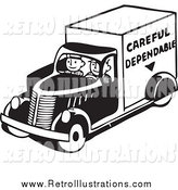 Retro Illustration of Men Driving a Careful Dependable Delivery Truck by BestVector