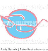 June 19th, 2012: Retro Illustration of Pink Girly Sunglasses over a Blue Circle on White by Andy Nortnik
