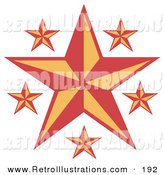 Retro Illustration of Red and Orange Stars over a Solid White Background by Andy Nortnik