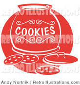 Retro Illustration of Red Silhouetted Chocolate Chip Cookies on a Counter in Front of an Open Cookie Jar by Andy Nortnik
