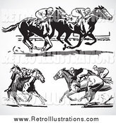 Retro Illustration of Retro Black and White Horse Races on Gray by BestVector