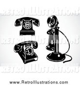 August 18th, 2014: Retro Illustration of Retro Black and White Telehones by BestVector