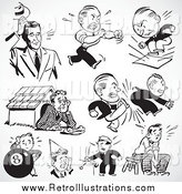 Retro Illustration of Retro Black and White Upset and Mad Businessmen by BestVector