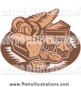 Retro Illustration of Retro Brown Bakery Goods by Patrimonio