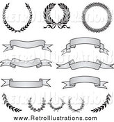 Retro Illustration of Retro Grayscale Banners, Laurels and Wreaths by BestVector